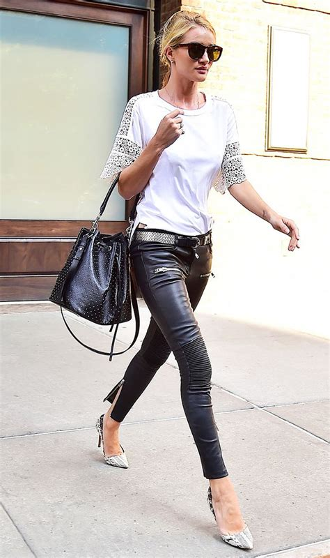 rosie huntington whiteley leather pants 3 shoe styles that go with leather pants and one that