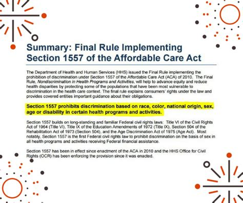what are the sections of the act section 1557 of the affordable care act part 1 non