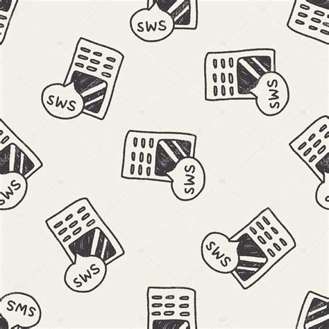 cell phone pattern hacker cell phone message doodle drawing seamless pattern