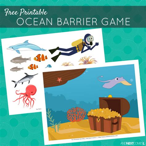 Printable Barrier Games | free printable ocean barrier game for speech therapy and