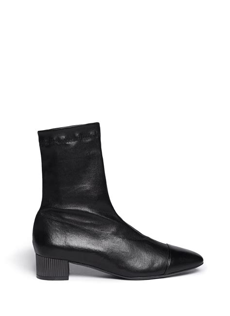 robert clergerie cofre metal heel leather ankle boots in