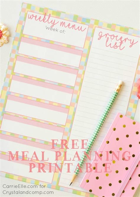 printable meal planner by carrie lindsey free meal planning printable with a fun spring theme