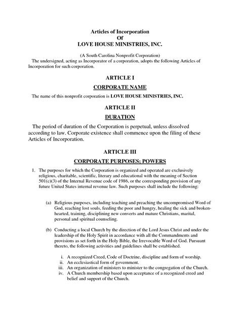 articles of incorporation template free articles of incorporation template free