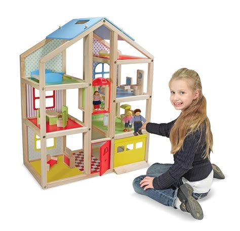 wooden doll house canada melissa doug hi rise wooden dollhouse with 15 pcs furniture garage and working