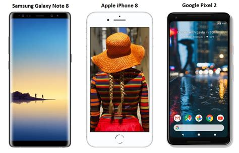 samsung galaxy note 8 vs apple iphone 8 vs pixel 2 price in india specifications and
