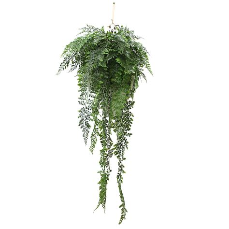 hanging plant artificial hanging fern 90cm complete with basket