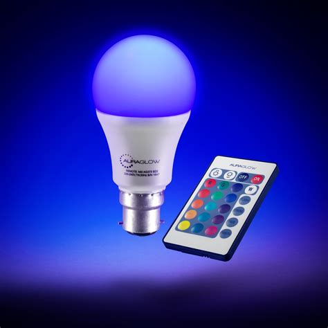 color changing led light bulb auraglow remote colour changing dimmable led light