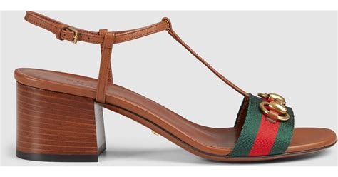 Gucci Mid Heels 385 gucci leather mid heel sandal in brown lyst