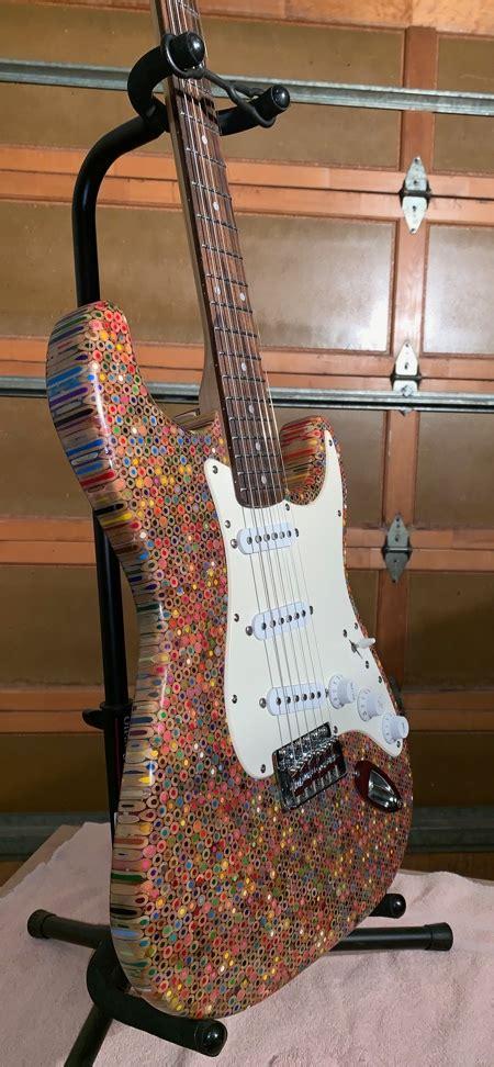 guitar made of pencils