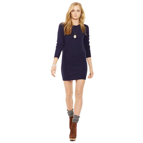 Patch Sweater Dress ralph suede patch sweater dress in blue lyst