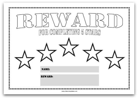 printable blank star chart colourful reward charts for kids