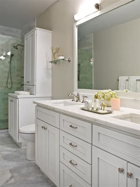 white and beige bathrooms bathroom grey marble backsplash with shelf transitional