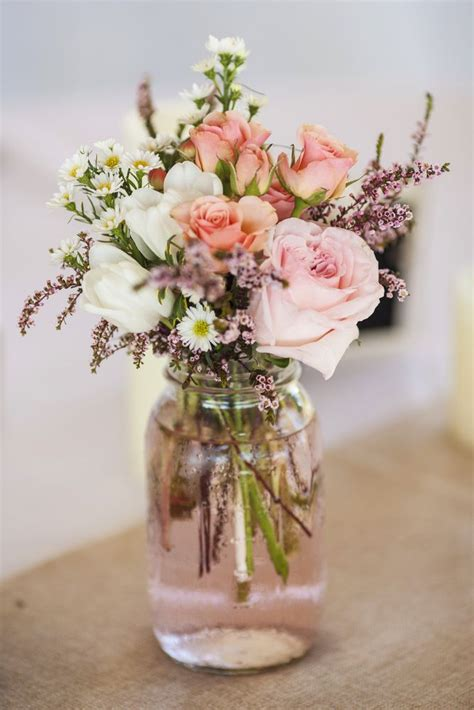 wedding flower arrangments jam jar wedding centerpieces search pinteres