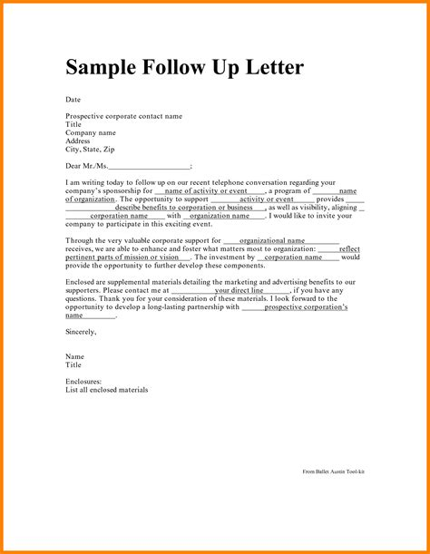 Follow Up Letter 12 follow up letter for application assembly resume