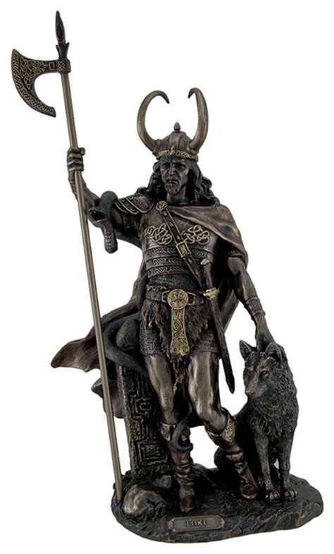 Bronze Finish Loki Norse  Statue Sculpture   Decorative