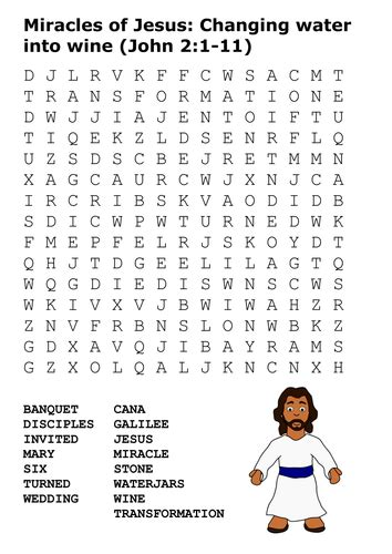 Wedding At Cana Word Search by Miracles Of Jesus Changing Water Into Wine Word Search By