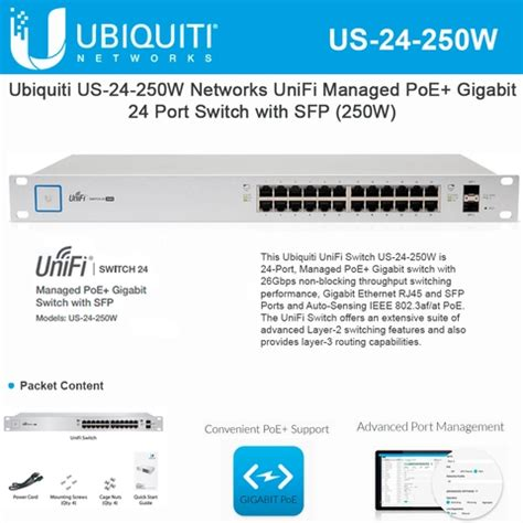 Unifi Us 24 250w Managed Poe Gigabit Switch With Sfp 1 ubiquiti us 24 250w unifi switch 24 250w 24 port gigabit managed switch sfp poe