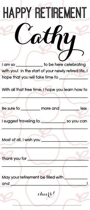 printable retirement games happy retirement mad libs printable customized by