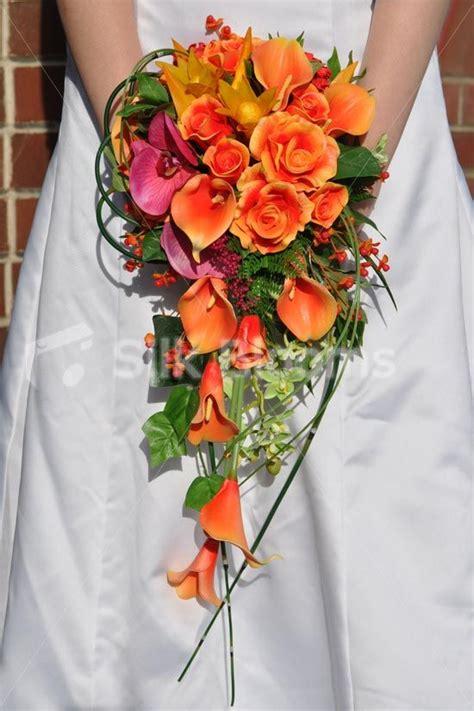 tropical artificial fresh touch orange cascade bridal