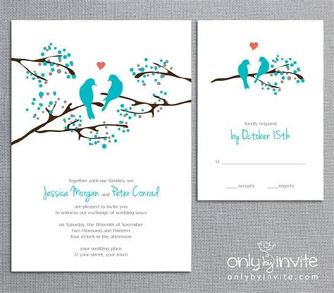 Bird Wedding Invitations Etsy