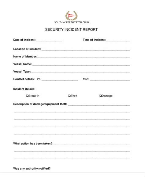 security incident report template word sle security incident report 13 exles in pdf word