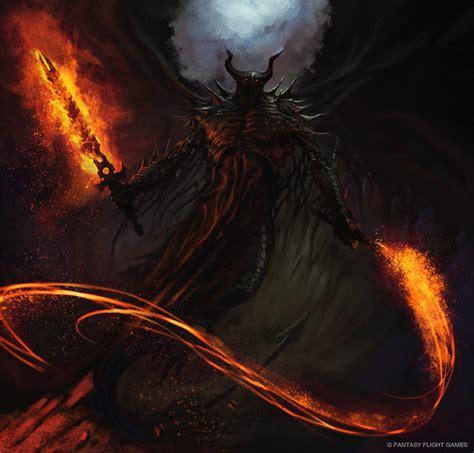 flaming c figure demonic figure wielding flaming sword and whip demonic