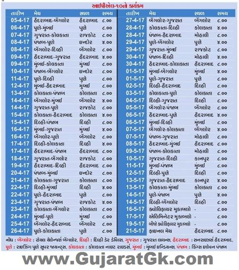 ipl 2017 time table download ipl 10 time table t20 indian premier league 2017