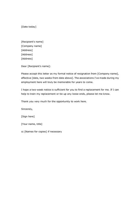 Resignation Letter Ideas by Resignation Letter Format Marvelous Ideas 2 Weeks Notice Resignation Letter Sle Outline