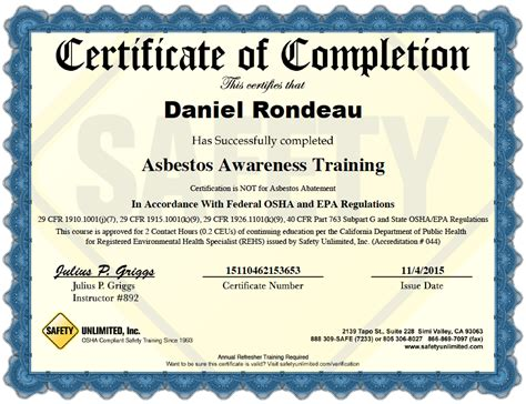 asbestos awareness certificate template mz asbestos program