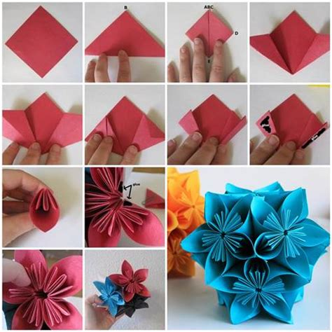 Origami Japanese Flower - how to make beautiful origami kusudama flowers