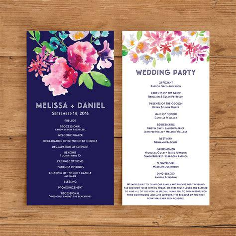 Printable Wedding Program Template Floral Ceremony Program Watercolor Flower Flower Navy Wedding Program Templates