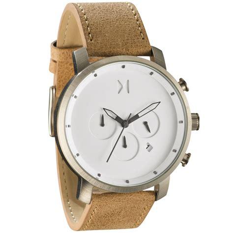 mvmt watches chrono white caramel leather s