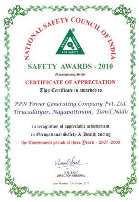 safety recognition certificate template national safety council of india