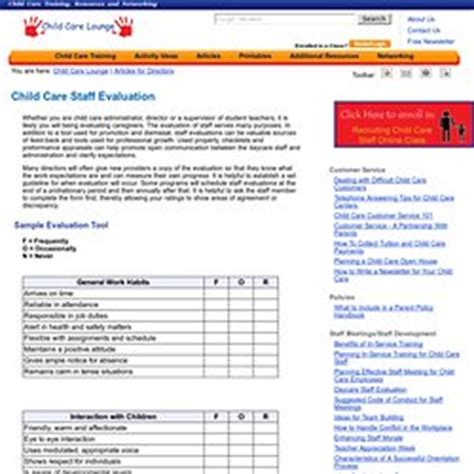 Performance Management Professional Development Support Pearltrees Child Care Program Evaluation Template