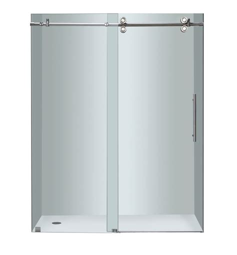Home Depot Shower Door Installation Aston 60 Inch X 75 Inch Frameless Sliding Shower Door In Chrome The Home Depot Canada
