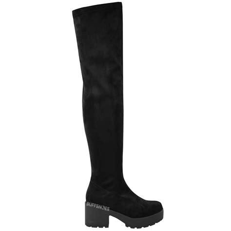 stretch boots womens thigh high the knee platform chunky
