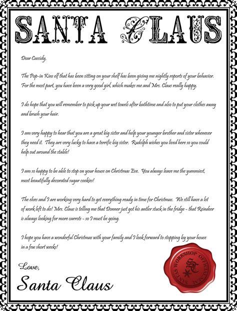 santa letterhead printable inspiration simple