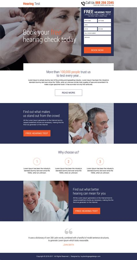 design online exam website landing pages for capturing leads for hearing solutions