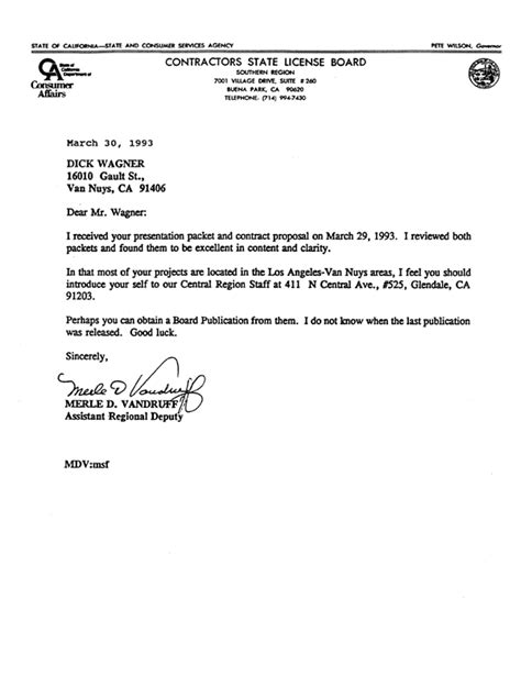 Reference Letter For Contractor Work Reference Letters Contractors State Licence Board 1993