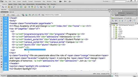 dreamweaver cs6 tutorial how to use code hinting lynda