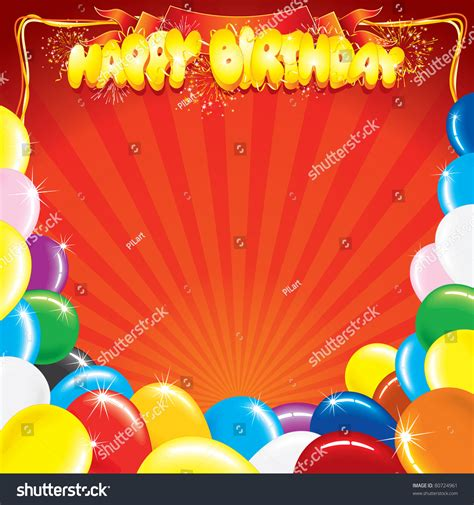 design your own birthday card template multicolor balloons words happy birthday template stock