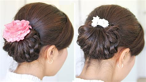 homecoming knotted hair bun updo hairstyle  medium hair