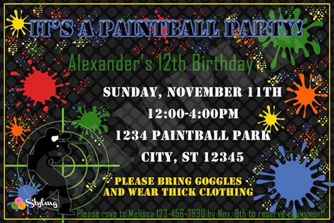 printable birthday invitations paintball paintball party invitation