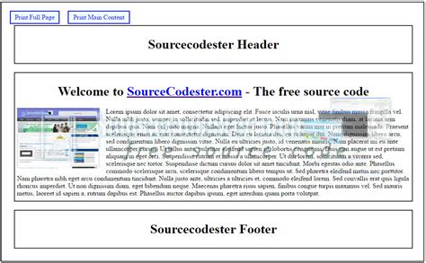 javascript printable area print a specific area of the web page using jquery free