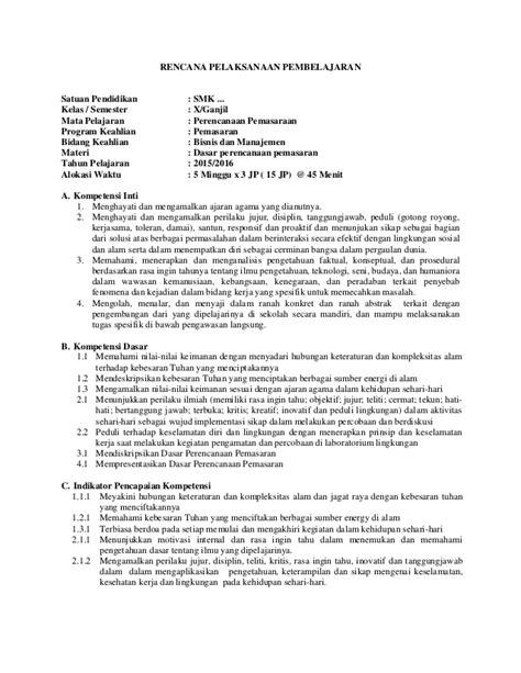 Perencanaan Pemasaran Smk Kelas X Sesuai Kurikulum 2013 rpp perencanaan pemasaran smk mak kurikulum 2013