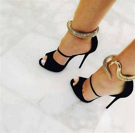 black gold shoes high heels shoes snake gold black high heels sandal heels wheretoget