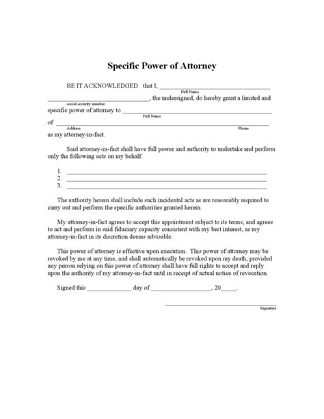 florida limited power of attorney form legalforms org