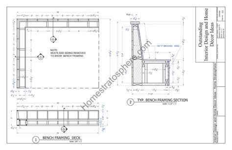 bench blueprints deck plan with built in benches for seating and storage