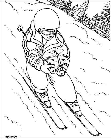 skiing color page coloring pages for kids
