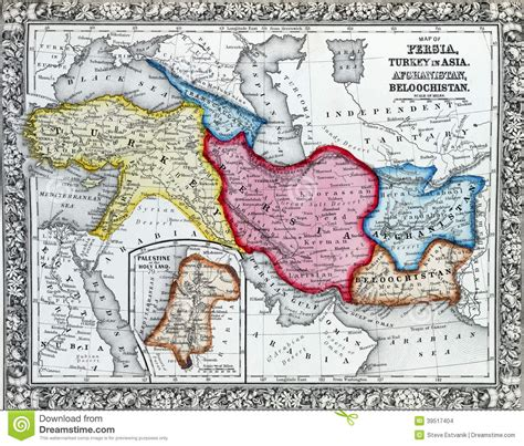 chi erano i persiani carte antique de turquie en asie illustration